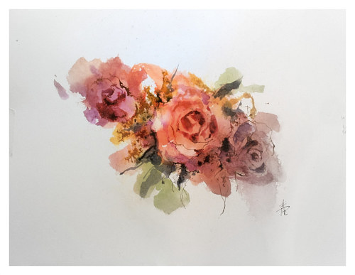 A watercolor painting of some red roses