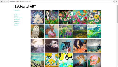 A screen capture of B.A. Martel's online painting gallery