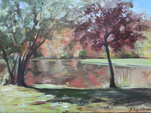 An oil painting of a park with autumnal trees
