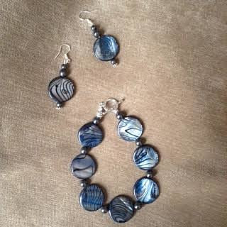 A handmade earring and bracelet set