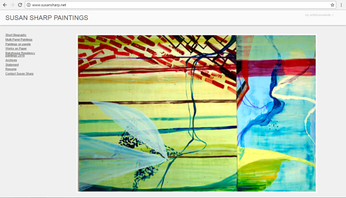 A screen capture of Susan Sharp's art website
