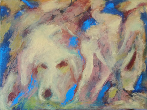 A painting by Carolyn Bonier of an abstracted dog