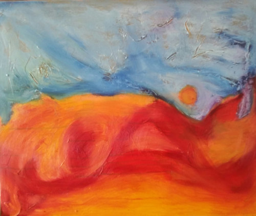 A painting made with a large plane of orange and a large plane of blue