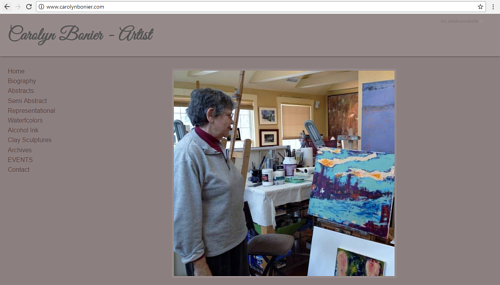 A screen capture of the front page of Carolyn Bonier's art website
