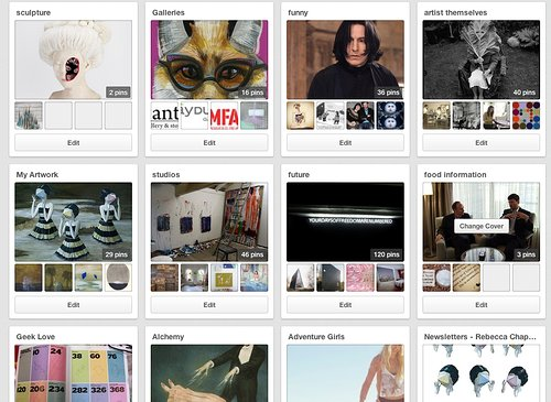 Screen capture of Pinterest website