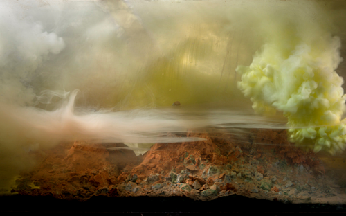 An artwork by Kim Keever depicting eroding mountains
