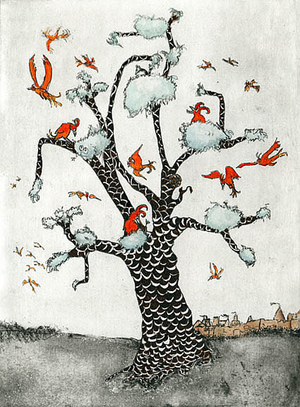 A mixed media print artwork of birds in a tree