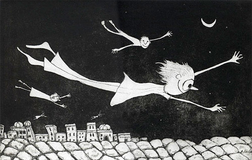 A black and white intaglio print of people flying above rooftops