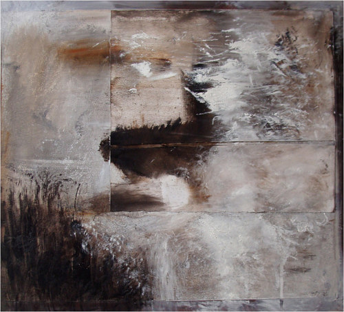 A mixed media artwork with layers of paper and white pigments
