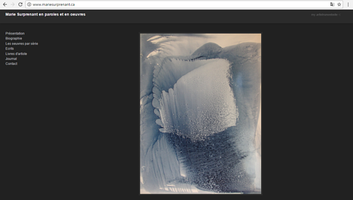 A screen capture of Marie Surprenant's art website
