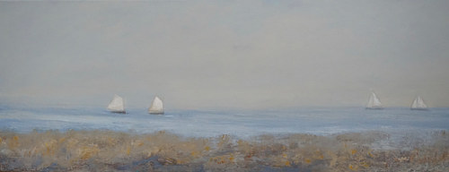 A cold wax and oil painting of sailboats on a calm sea