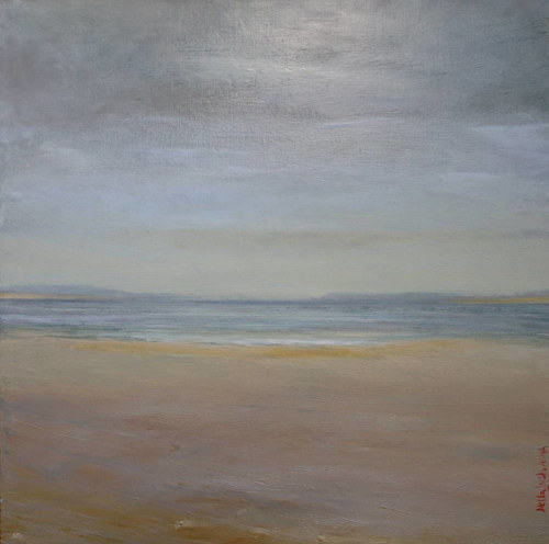 An oil and wax painting of a desolate seascape
