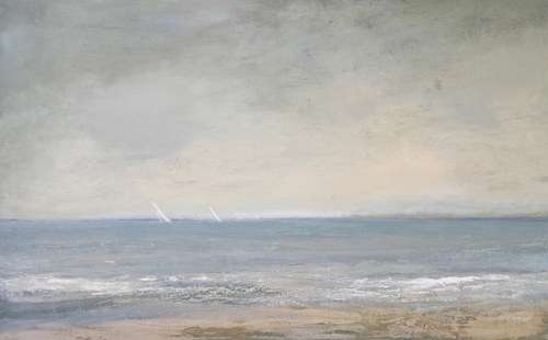 An oil and cold wax painting of sailboats seen from a deserted beach
