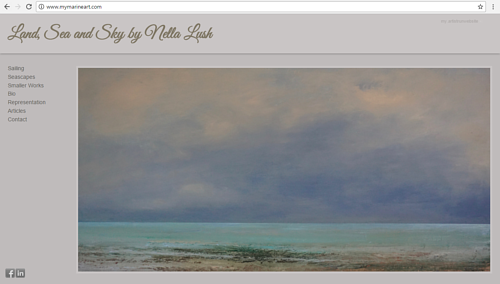 A screen capture of Nella Lush's marine art portfolio