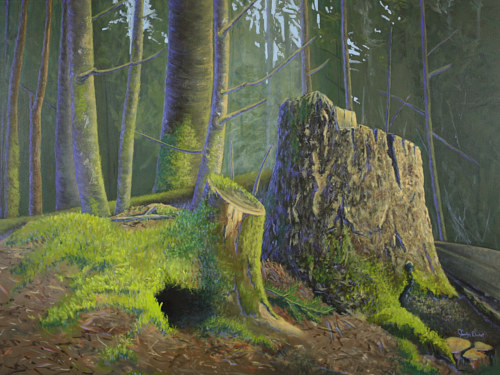 A painting of trees and stumps in a wood