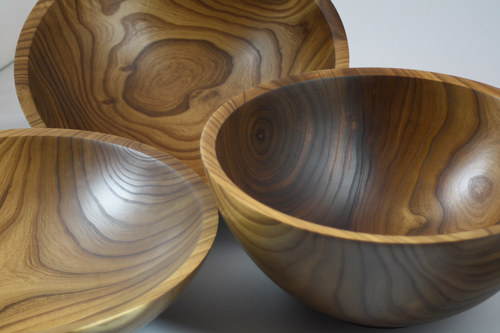 A selection of carved willow wood bowls