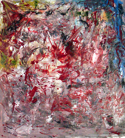 A painting made with abstract splashes of red paint