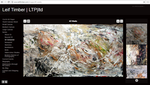 A screen capture of a gallery on Leif Timber's painting website