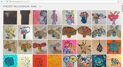 A screen capture of artworks on Vincent McLoughlin's art website