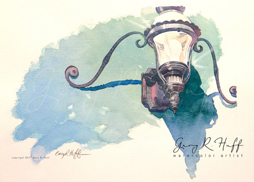 A watercolor painting of a wall lamp by Gary Huff