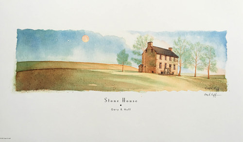 A watercolor painting of a stone house in rural Virginia