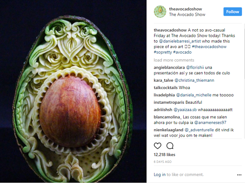 A screen capture of an Instagram post about Avocado art