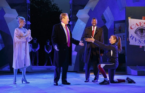 A photo of Shakespeare in the park's political production of Julius Caesar