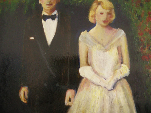 An oil and acrylic painting of a couple at their wedding