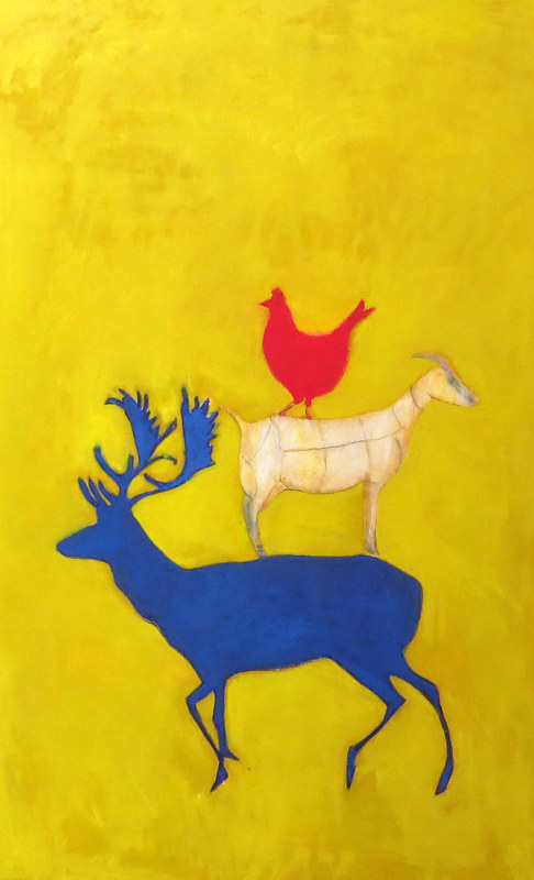 A painting of a deer, goat and chicken using bright primary colors