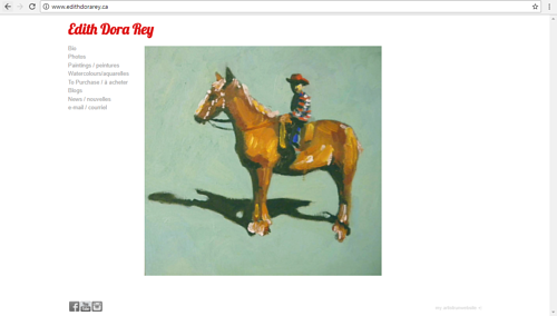A screen capture of Edith Dora Rey's art website