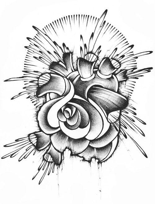 A drawing of a heart-shaped rose by Brian Joubert