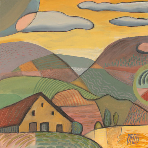 A painting of a house surrounded by rolling hills