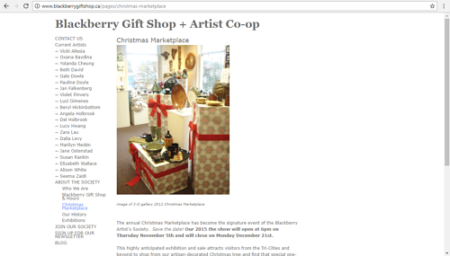 A screen capture of the Christmas Marketplace page onthe  Blackberry Artist Co Op website