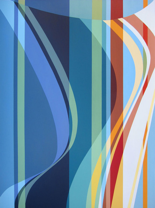 A geometric abstract painting with curved blue lines