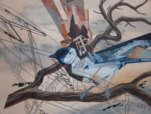 An oil painting of a bird with surreal elements