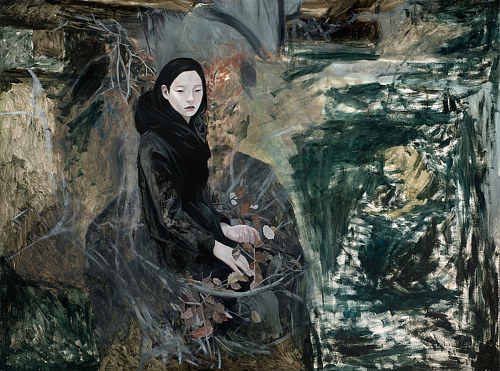 A painting of a figure in a black coat  standing among trees