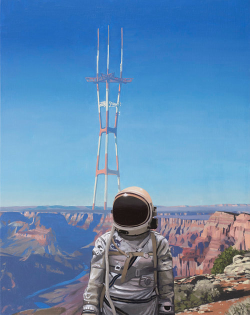A painting of an astronaut in front of a terrestrial structure