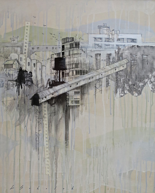 A mixed media artwork with an abstracted image of a city