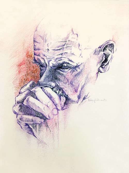 A pencil drawing of a man looking pensive