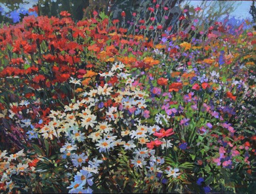 A painting of a wild array of flowers