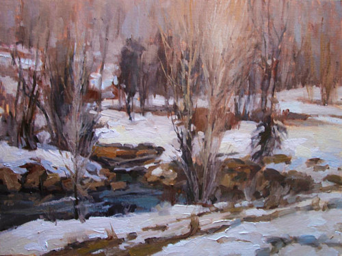 A painting of a snowy river and trees