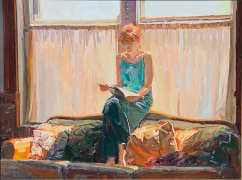 An oil painting of a woman reading in the sun