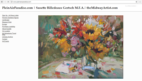 The front page of Susette Billedeaux Gertsch's art website