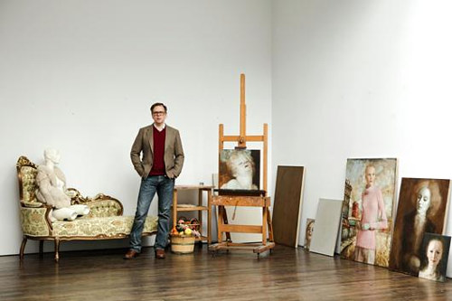 A photograph of John Currin in his studio