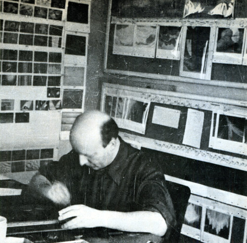 A photo of Oskar Fischinger at  work in Walt Disney studios