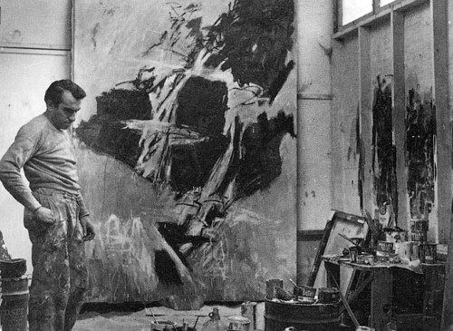 A photo of Peter Voulkos in his art studio
