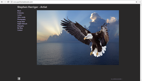 A screen capture of Stephen Harriger's art website