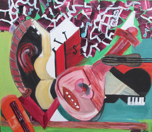 A painting inspired by cubist styles