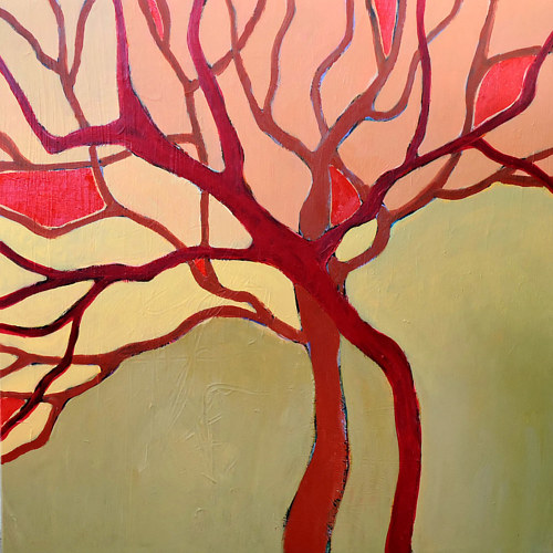 An acrylic painting of a series of red abstracted branches