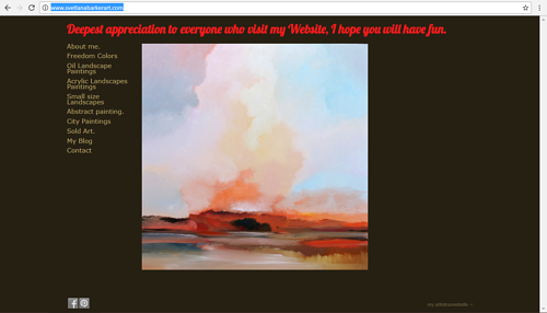 A screen capture of Svetlana Baker's art website